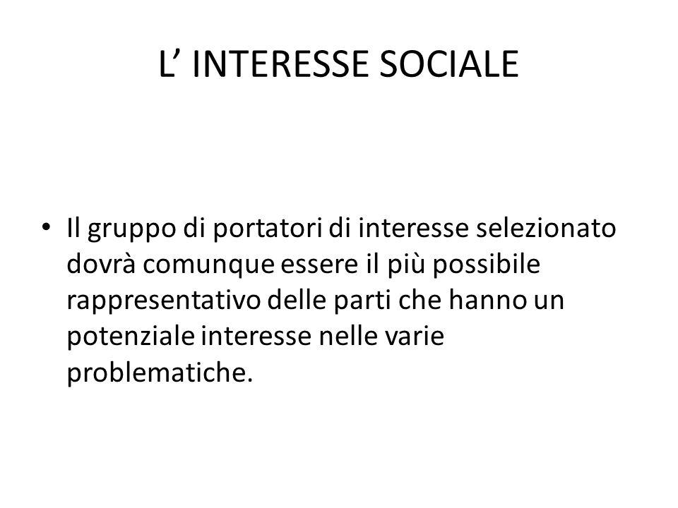 L INTERESSE SOCIALE Il gruppo di portatori di interesse selezionato dovrà comunque essere il più possibile rappresentativo delle parti che hanno un po