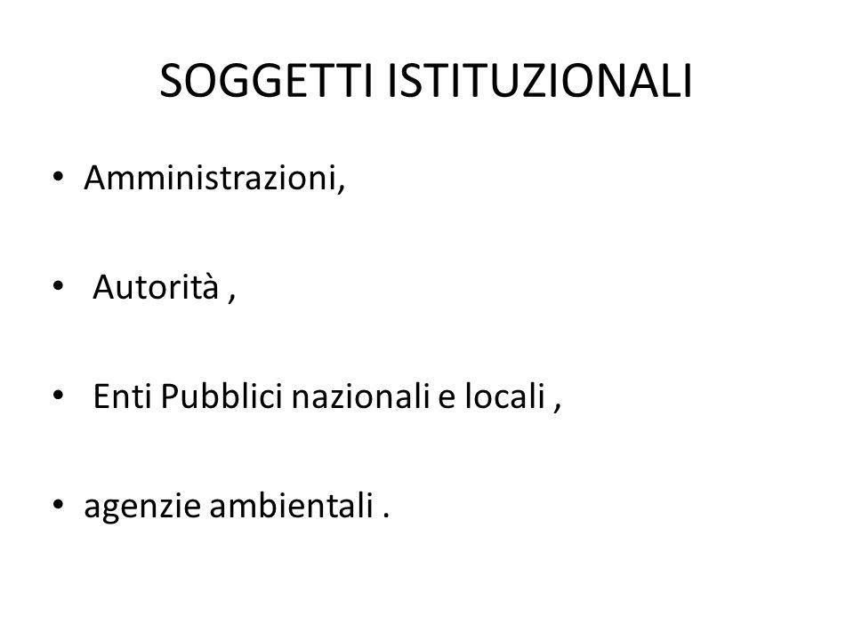 SOGGETTI ISTITUZIONALI Amministrazioni, Autorità, Enti Pubblici nazionali e locali, agenzie ambientali.