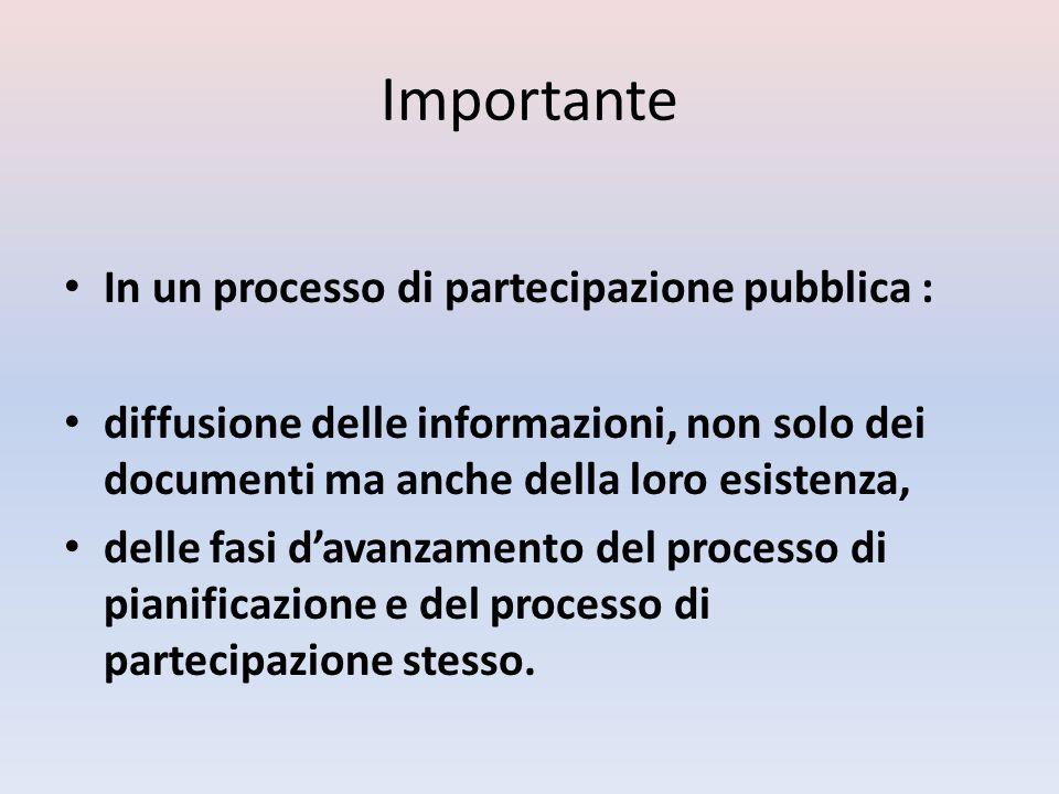 Importante In un processo di partecipazione pubblica : diffusione delle informazioni, non solo dei documenti ma anche della loro esistenza, delle fasi