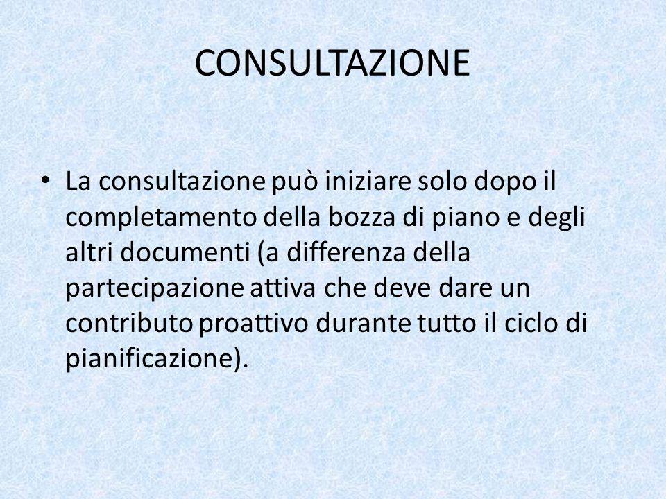 CONSULTAZIONE La consultazione può iniziare solo dopo il completamento della bozza di piano e degli altri documenti (a differenza della partecipazione