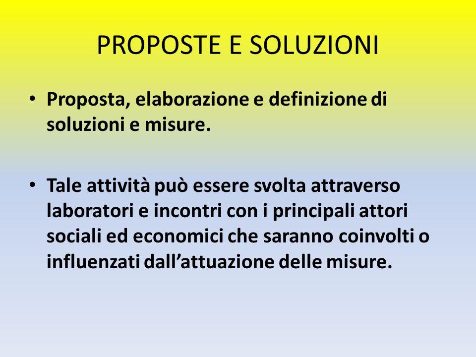 PROPOSTE E SOLUZIONI Proposta, elaborazione e definizione di soluzioni e misure. Tale attività può essere svolta attraverso laboratori e incontri con