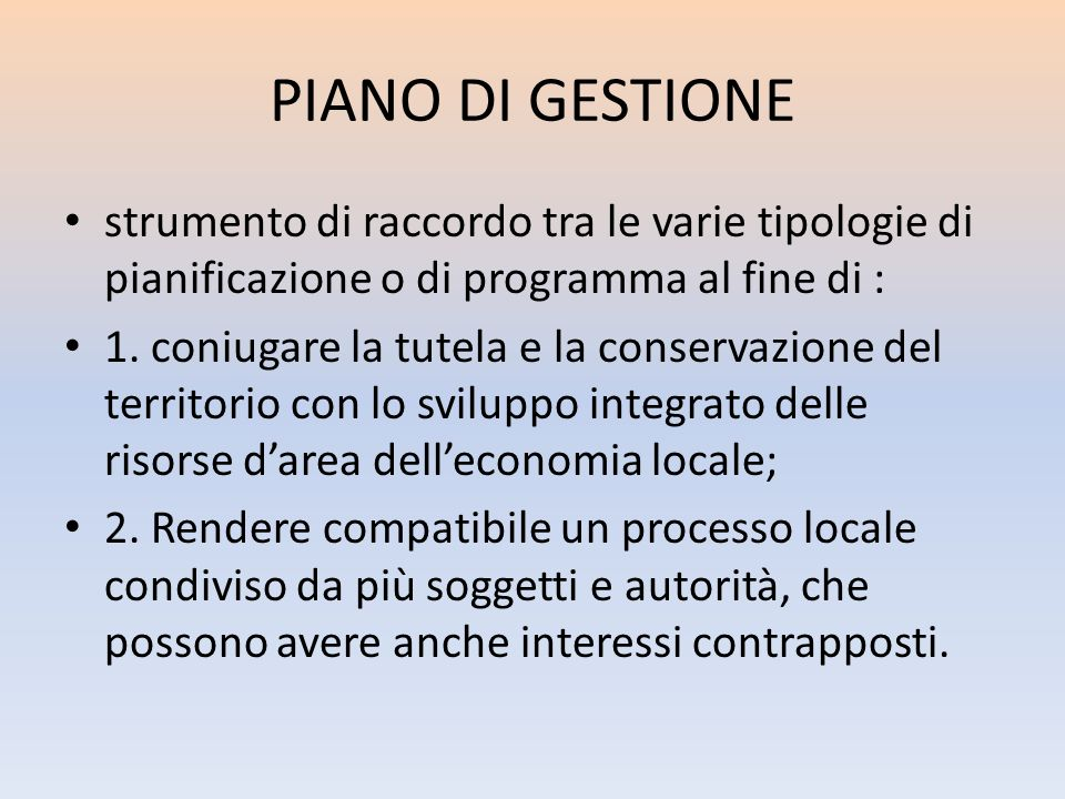 PIANO DI GESTIONE strumento di raccordo tra le varie tipologie di pianificazione o di programma al fine di : 1. coniugare la tutela e la conservazione