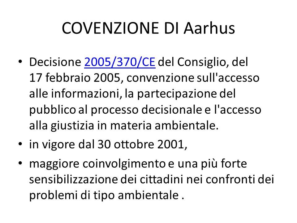 COVENZIONE DI Aarhus Decisione 2005/370/CE del Consiglio, del 17 febbraio 2005, convenzione sull'accesso alle informazioni, la partecipazione del pubb