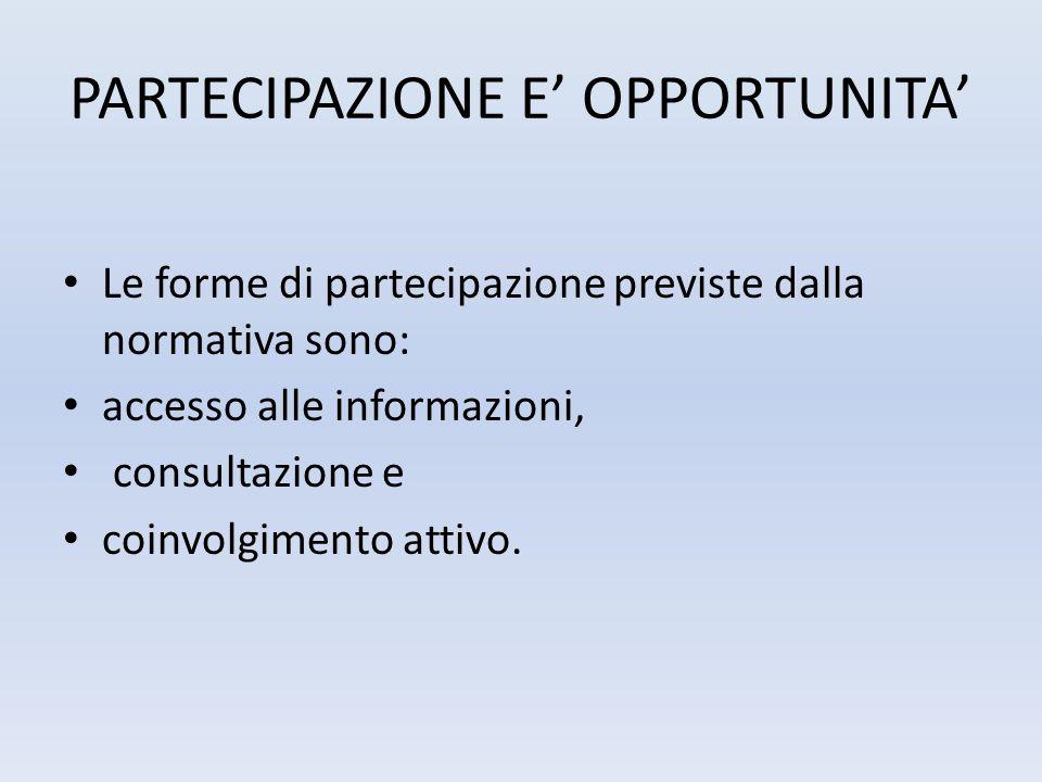 PARTECIPAZIONE E OPPORTUNITA Le forme di partecipazione previste dalla normativa sono: accesso alle informazioni, consultazione e coinvolgimento attiv