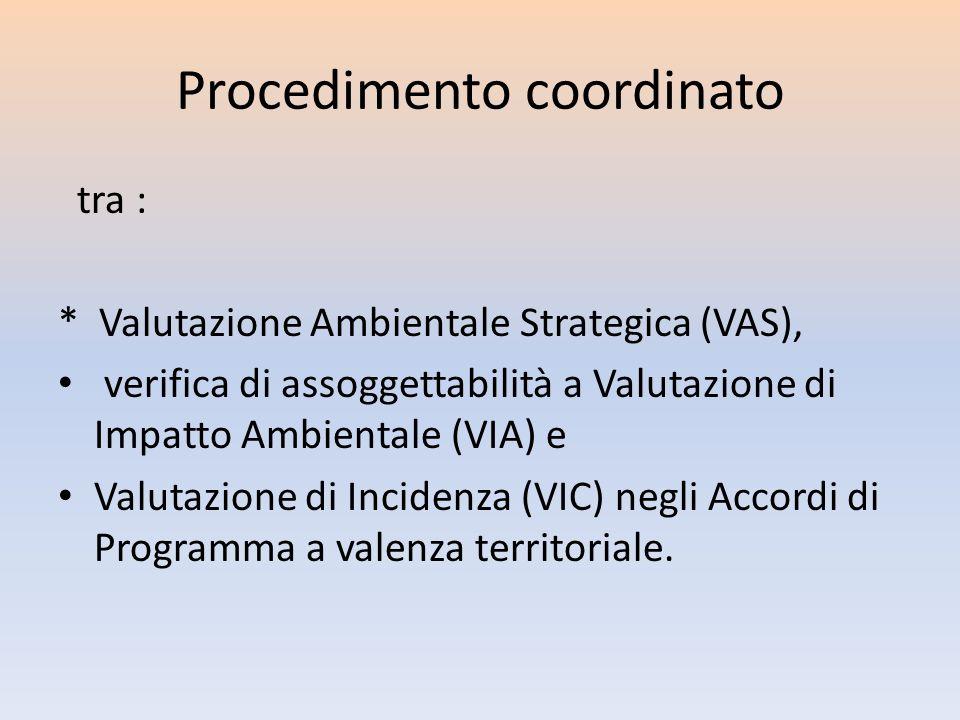 Procedimento coordinato tra : * Valutazione Ambientale Strategica (VAS), verifica di assoggettabilità a Valutazione di Impatto Ambientale (VIA) e Valu