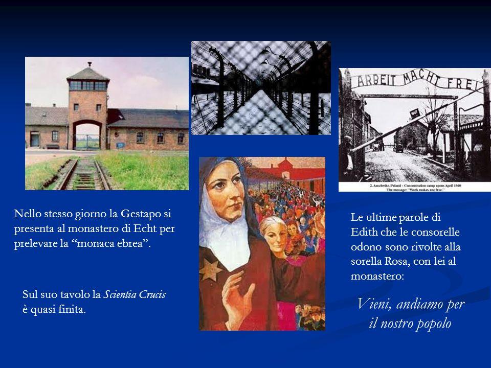 Nello stesso giorno la Gestapo si presenta al monastero di Echt per prelevare la monaca ebrea. Sul suo tavolo la Scientia Crucis è quasi finita. Le ul