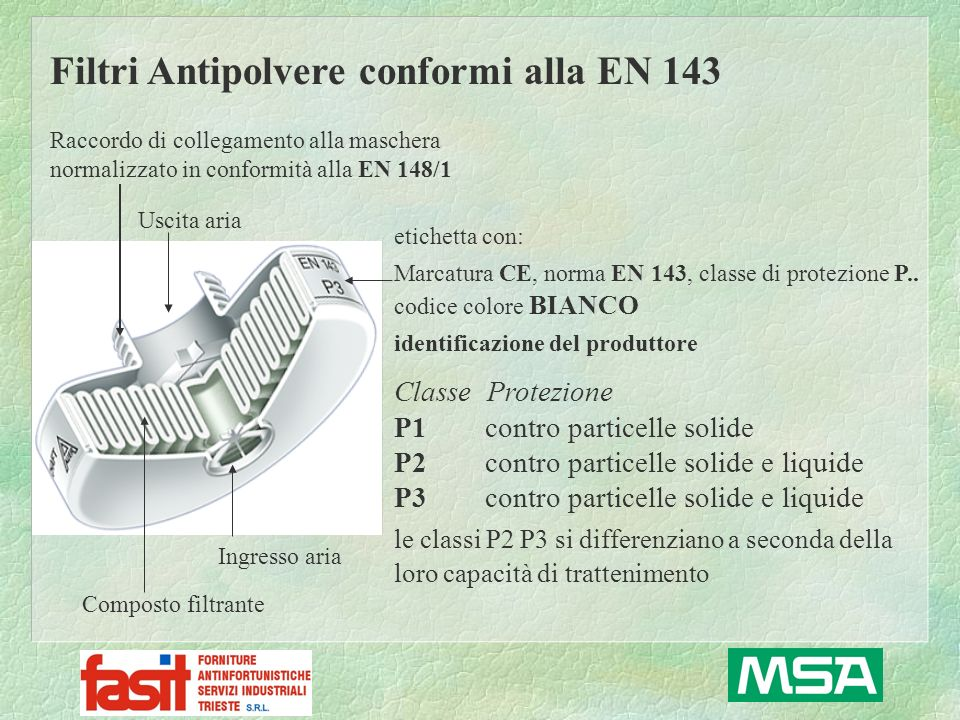 Filtri Antipolvere conformi alla EN 143 Classe Protezione P1 contro particelle solide P2 contro particelle solide e liquide P3 contro particelle solid