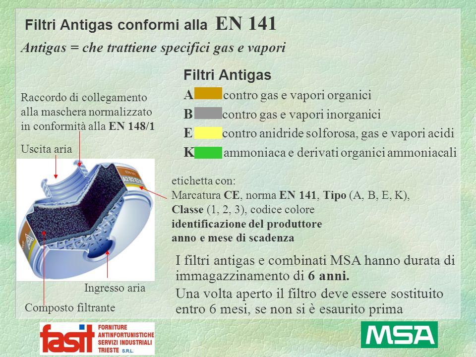 Raccordo di collegamento alla maschera normalizzato in conformità alla EN 148/1 Ingresso aria Uscita aria Composto filtrante antigas etichetta con: Marcatura CE, norma EN 141, Tipo (A, B, E, K), Classe (1, 2, 3), codice colore identificazione del produttore anno e mese di scadenza Filtri Combinati conformi alla EN 141 Combinato = che trattiene particelle in sospensione solide e/o liquide e specifici gas e vapori esempio: filtro combinato A2B2E2K2-P2 codice colore Peso massimo ammesso del filtro = 500 gr Composto filtrante antipolvere La classe indica la capacità del filtro classe 1 = piccola capacità (0,1% - 1.000 ppm) classe 2 = media capacità (0,5% - 5.000 ppm) classe 3 = grande capacità (1% - 10.000 ppm)