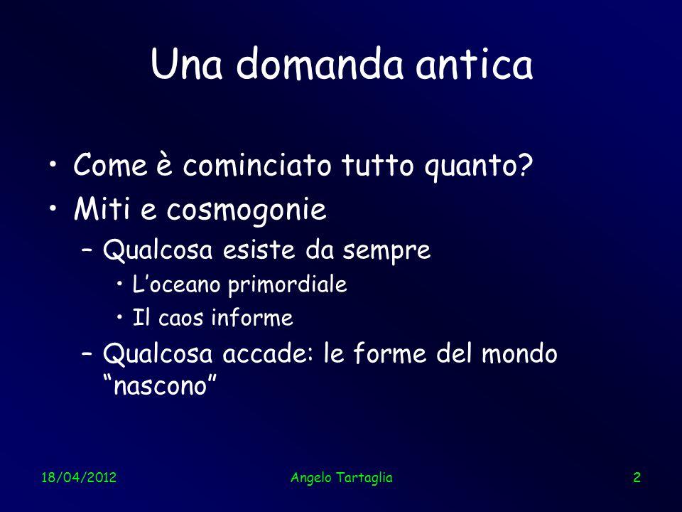 18/04/201223 Il cielo a microonde Temperatura iniziale: ~ 3000 K Temperatura oggi: 2,725 K Angelo Tartaglia23