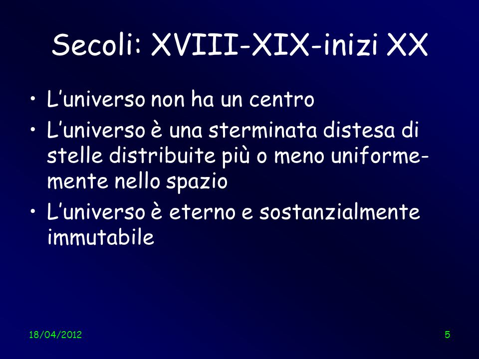 18/04/201216 La costante cosmologica viene accantonata Much later, when I was discussing cosmological problems with Einstein, he remarked that the introduction of the cosmological term was the biggest blunder of his life.