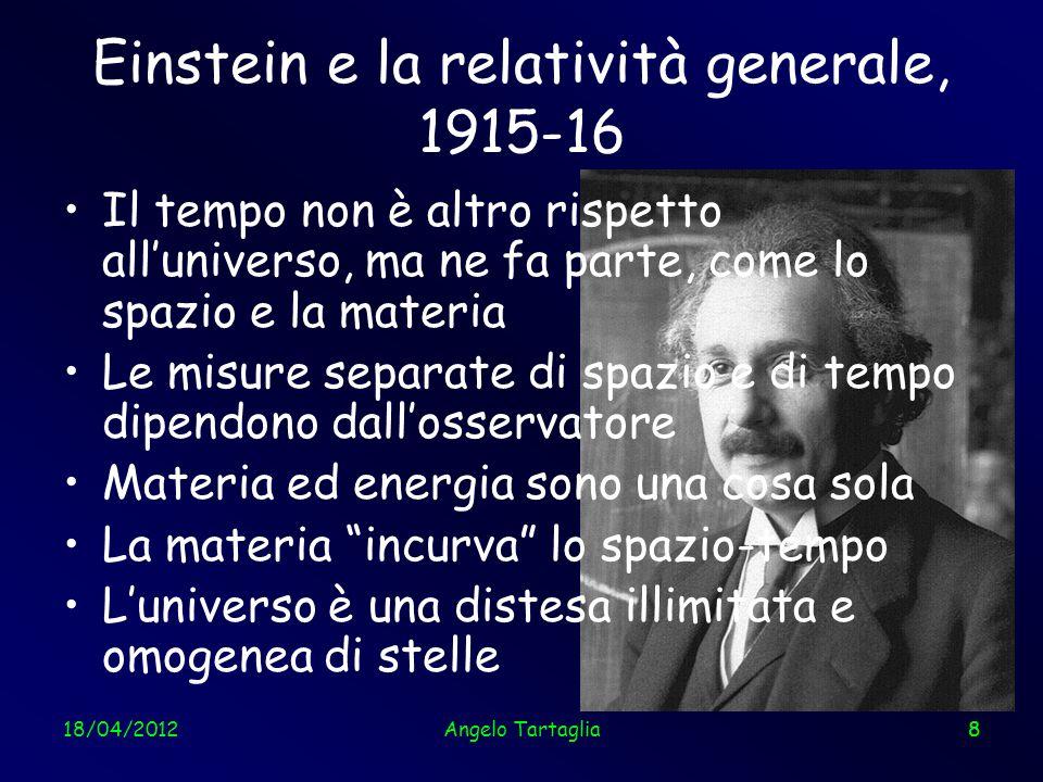 18/04/20129 Il primo cosmo di Einstein, 1917 Statico Illimitato, ma finito (come la superficie di una sfera) Luniverso risulta instabile: dovrebbe implodere Einstein introduce un termine ad hoc nelle sue equazioni per impedire limplosione: la costante cosmologica Angelo Tartaglia9