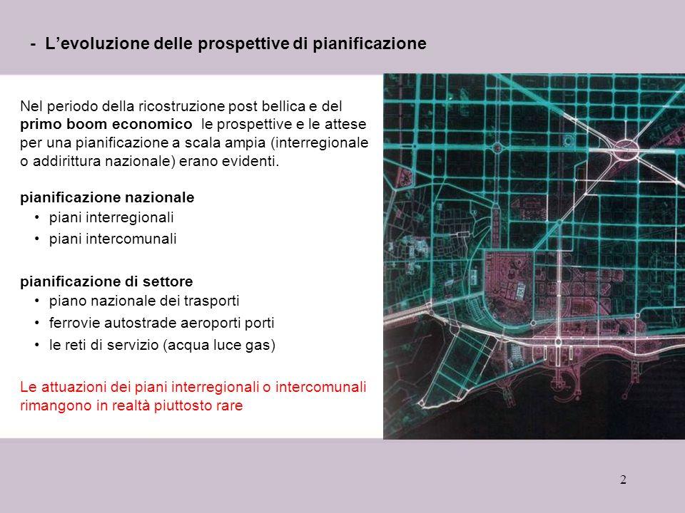 2 - Levoluzione delle prospettive di pianificazione Nel periodo della ricostruzione post bellica e del primo boom economico le prospettive e le attese