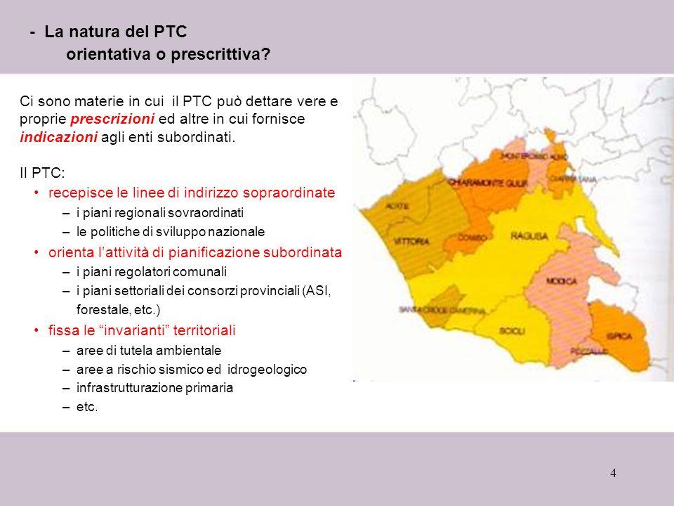 4 - La natura del PTC orientativa o prescrittiva? Ci sono materie in cui il PTC può dettare vere e proprie prescrizioni ed altre in cui fornisce indic