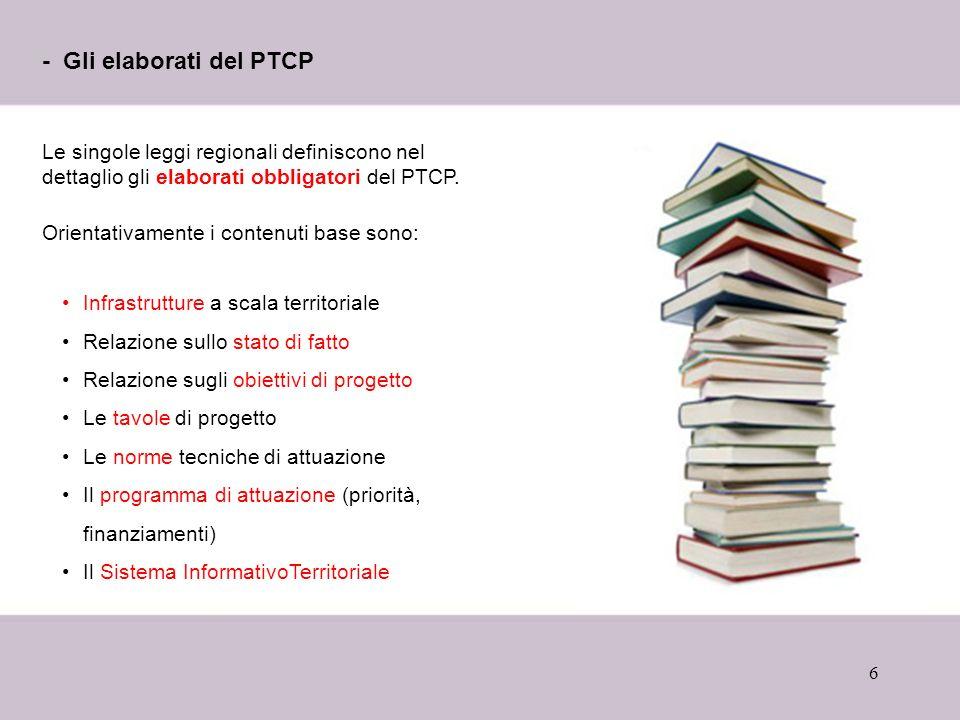 6 - Gli elaborati del PTCP Le singole leggi regionali definiscono nel dettaglio gli elaborati obbligatori del PTCP. Orientativamente i contenuti base