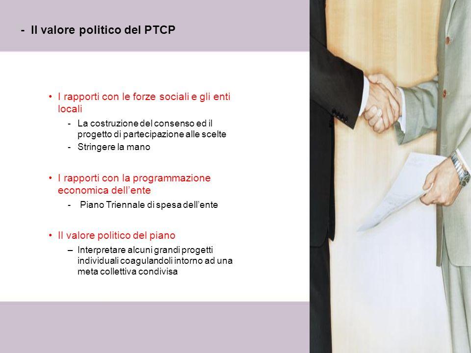 7 - Il valore politico del PTCP I rapporti con le forze sociali e gli enti locali -La costruzione del consenso ed il progetto di partecipazione alle s