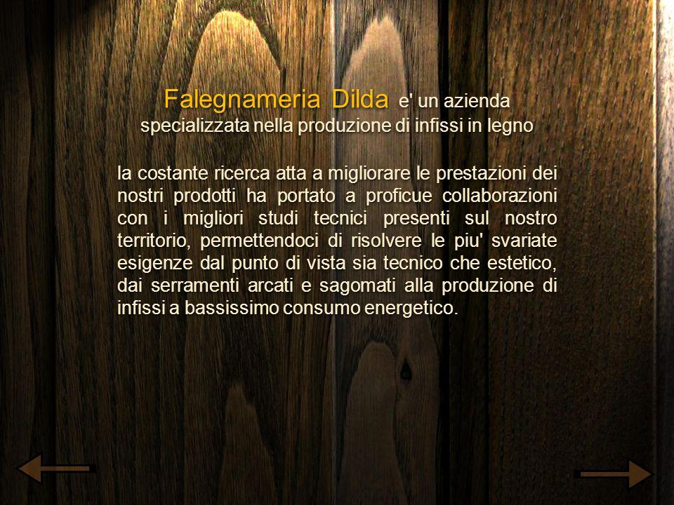 Falegnameria Dilda e' un azienda specializzata nella produzione di infissi in legno la costante ricerca atta a migliorare le prestazioni dei nostri pr