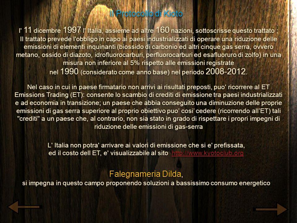Il Protocollo di Kioto l' 11 dicembre 1997 l' Italia, assieme ad altre 160 nazioni, sottoscrisse questo trattato ; Il trattato prevede l'obbligo in ca