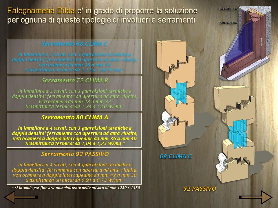 Falegnameria Dilda e' in grado di proporre la soluzione per ognuna di queste tipologie di involucri e serramenti Serramento 68 CLIMA C in lamellare a
