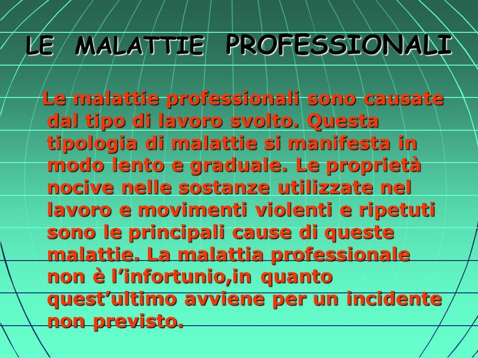 LE MALATTIE PROFESSIONALI Le malattie professionali sono causate dal tipo di lavoro svolto.