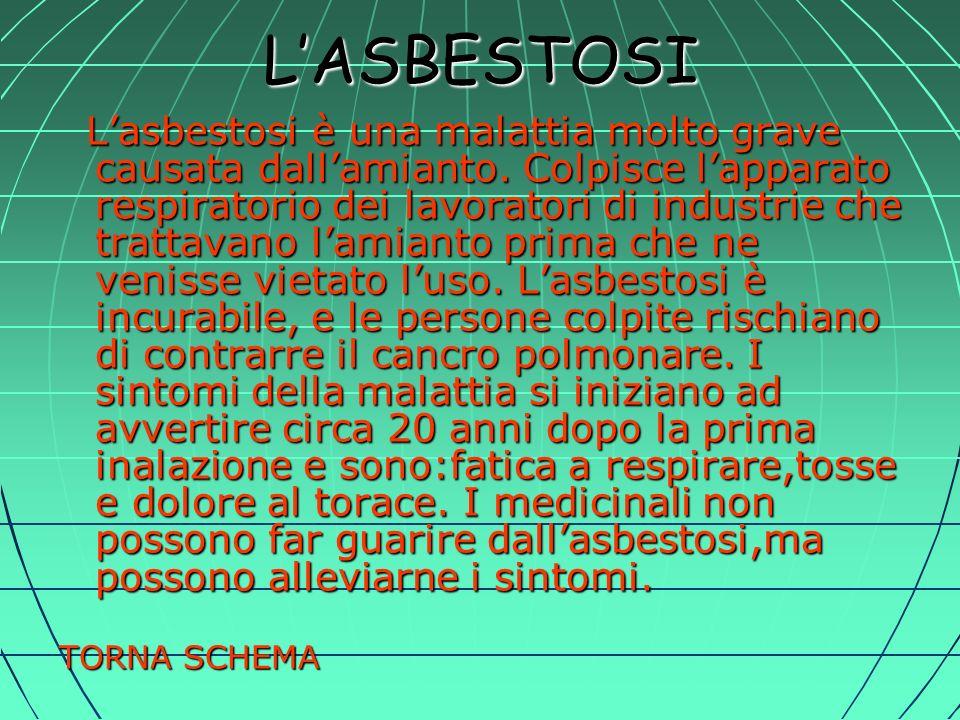 LASBESTOSI Lasbestosi è una malattia molto grave causata dallamianto.