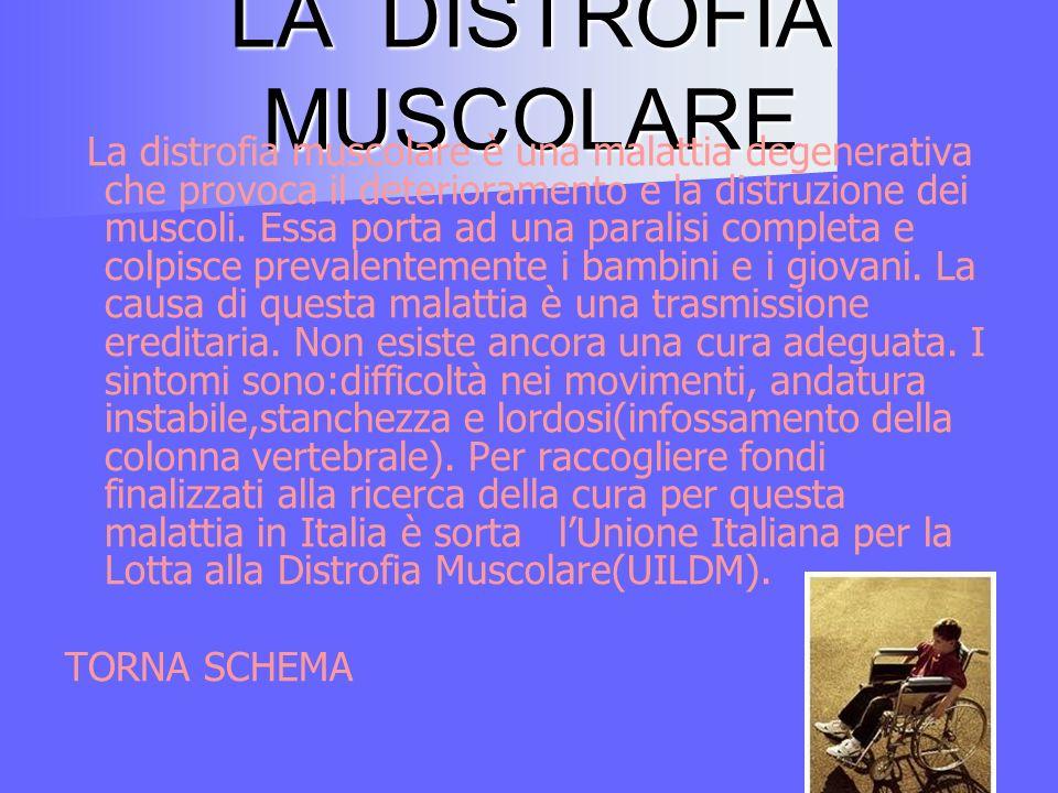 LA DISTROFIA MUSCOLARE La distrofia muscolare è una malattia degenerativa che provoca il deterioramento e la distruzione dei muscoli.