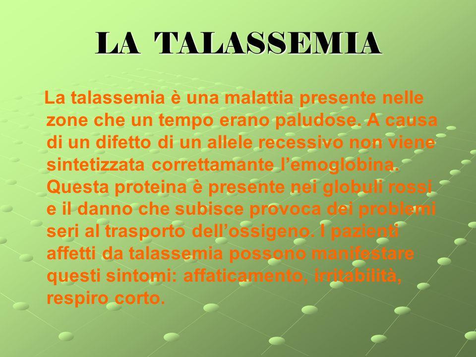 LA TALASSEMIA La talassemia è una malattia presente nelle zone che un tempo erano paludose.