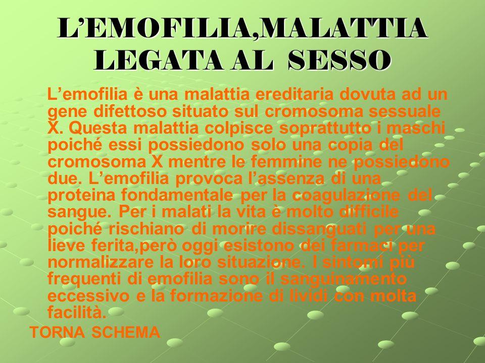 LEMOFILIA,MALATTIA LEGATA AL SESSO Lemofilia è una malattia ereditaria dovuta ad un gene difettoso situato sul cromosoma sessuale X.