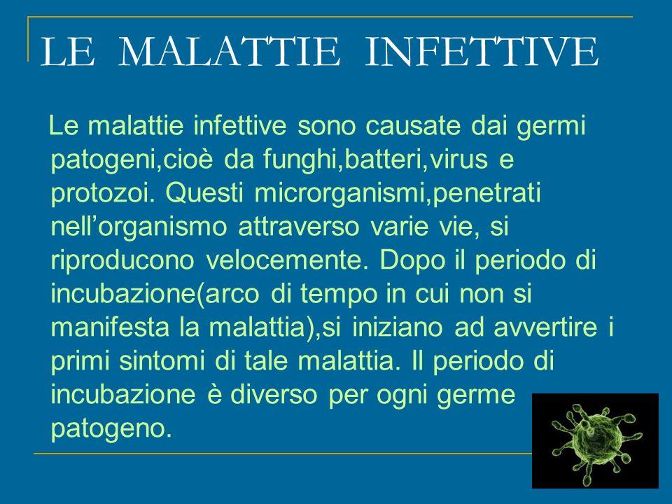 LE MALATTIE INFETTIVE Le malattie infettive sono causate dai germi patogeni,cioè da funghi,batteri,virus e protozoi.