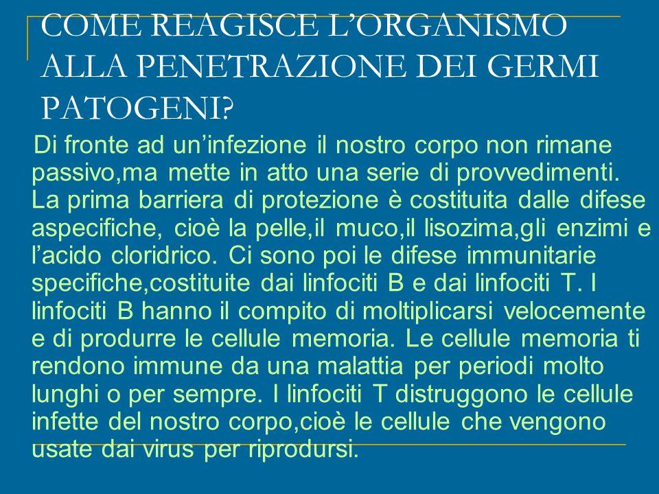 COME REAGISCE LORGANISMO ALLA PENETRAZIONE DEI GERMI PATOGENI.
