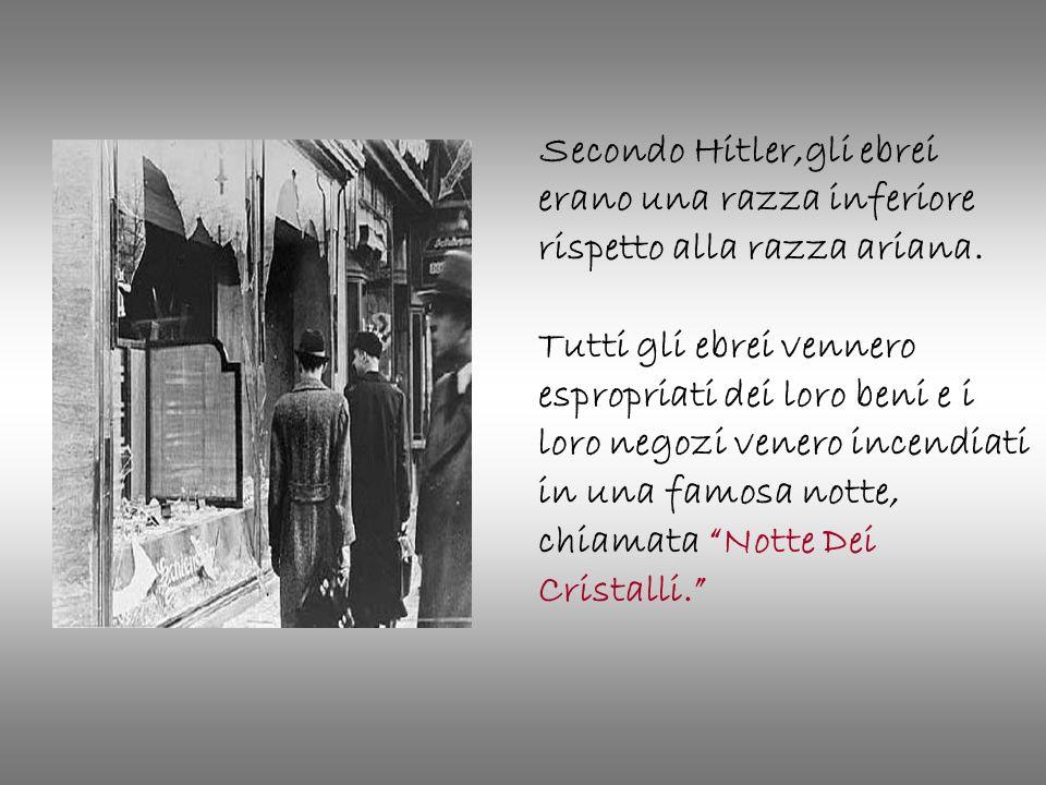 Secondo Hitler,gli ebrei erano una razza inferiore rispetto alla razza ariana. Tutti gli ebrei vennero espropriati dei loro beni e i loro negozi vener