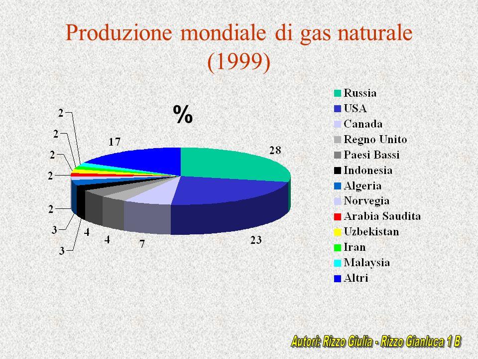 Produzione mondiale di gas naturale (1999) %