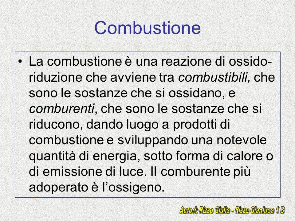 Combustione La combustione è una reazione di ossido- riduzione che avviene tra combustibili, che sono le sostanze che si ossidano, e comburenti, che s