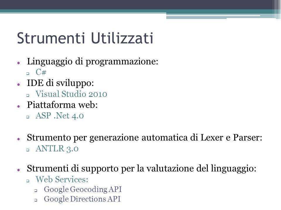 Strumenti Utilizzati Linguaggio di programmazione: C# IDE di sviluppo: Visual Studio 2010 Piattaforma web: ASP.Net 4.0 Strumento per generazione autom