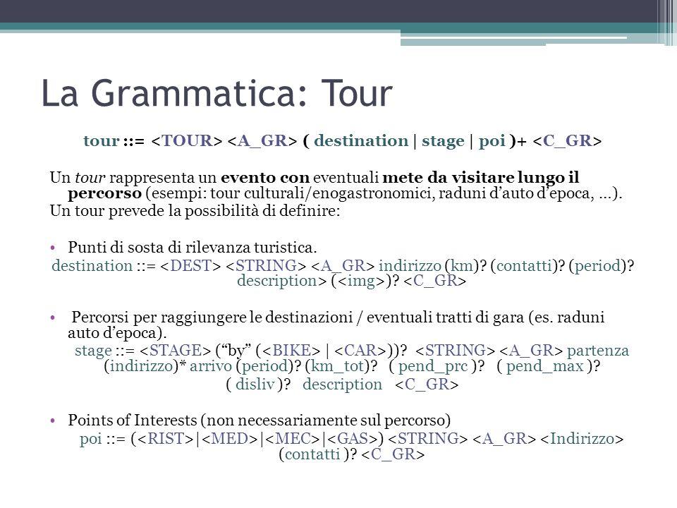 La Grammatica: Tour tour ::= ( destination | stage | poi )+ Un tour rappresenta un evento con eventuali mete da visitare lungo il percorso (esempi: to