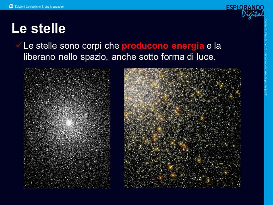 Come è fatta una stella Le stelle sono in genere corpi molto grandi, formati da gas, soprattutto idrogeno ed elio.