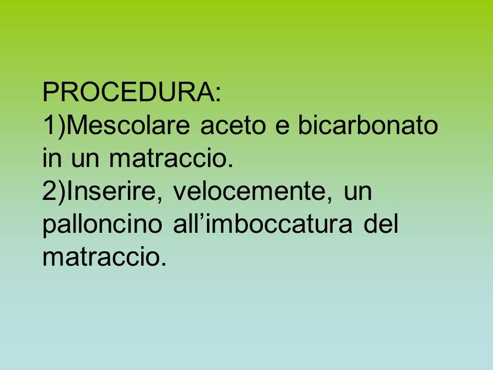 Materiale occorrente: Aceto Bicarbonato 1 Matraccio (o pallone a fondo piatto) 1 Palloncino gonfiabile