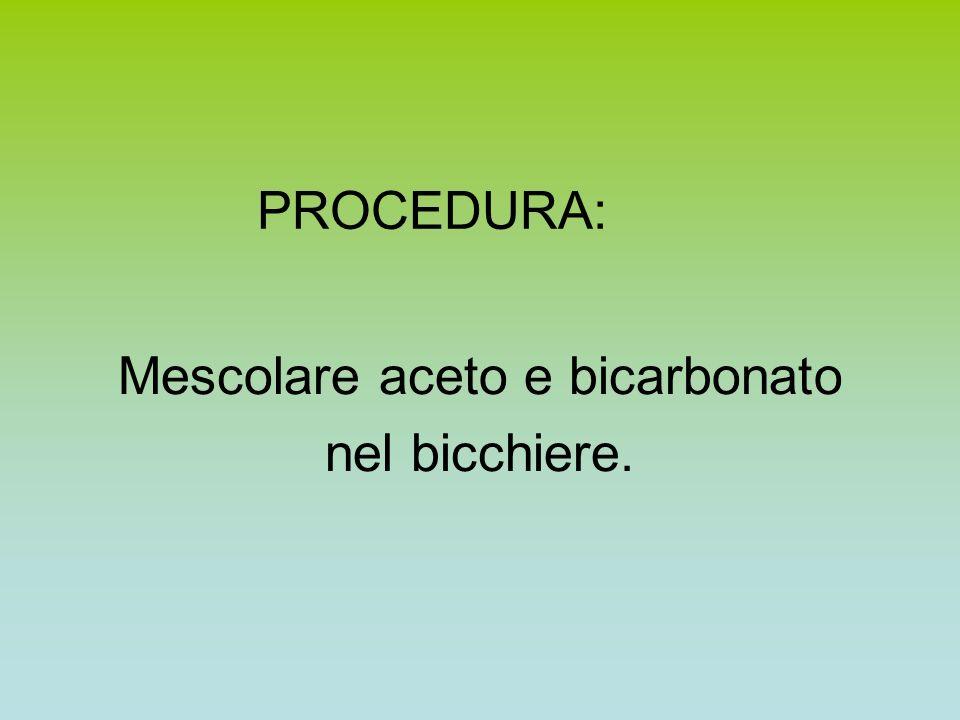 PROCEDURA: Mescolare aceto e bicarbonato nel bicchiere.
