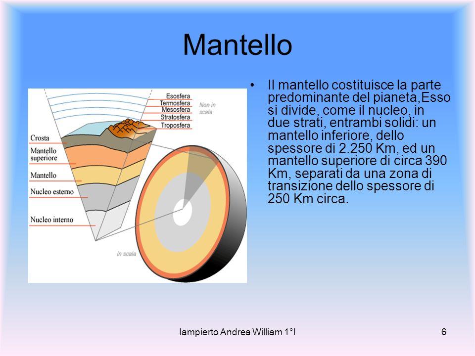 Iampierto Andrea William 1°I6 Mantello Il mantello costituisce la parte predominante del pianeta,Esso si divide, come il nucleo, in due strati, entrambi solidi: un mantello inferiore, dello spessore di 2.250 Km, ed un mantello superiore di circa 390 Km, separati da una zona di transizione dello spessore di 250 Km circa.