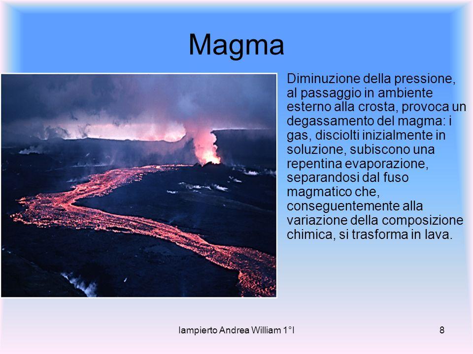 Iampierto Andrea William 1°I8 Magma Diminuzione della pressione, al passaggio in ambiente esterno alla crosta, provoca un degassamento del magma: i gas, disciolti inizialmente in soluzione, subiscono una repentina evaporazione, separandosi dal fuso magmatico che, conseguentemente alla variazione della composizione chimica, si trasforma in lava.