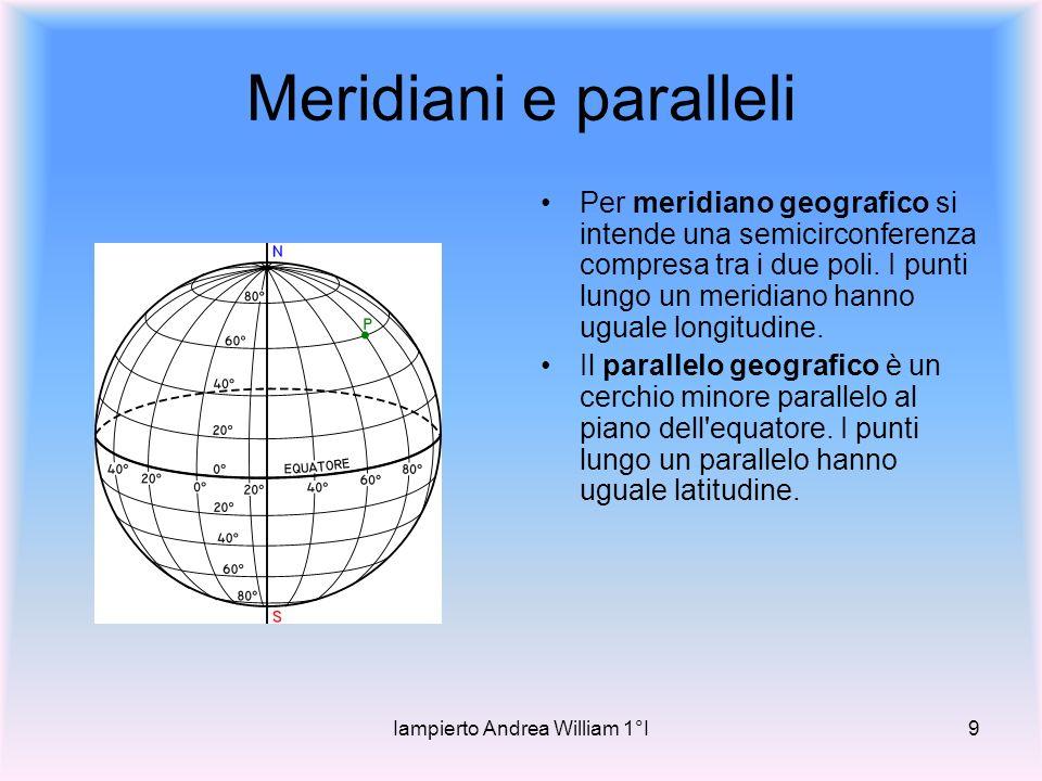 Iampierto Andrea William 1°I9 Meridiani e paralleli Per meridiano geografico si intende una semicirconferenza compresa tra i due poli.