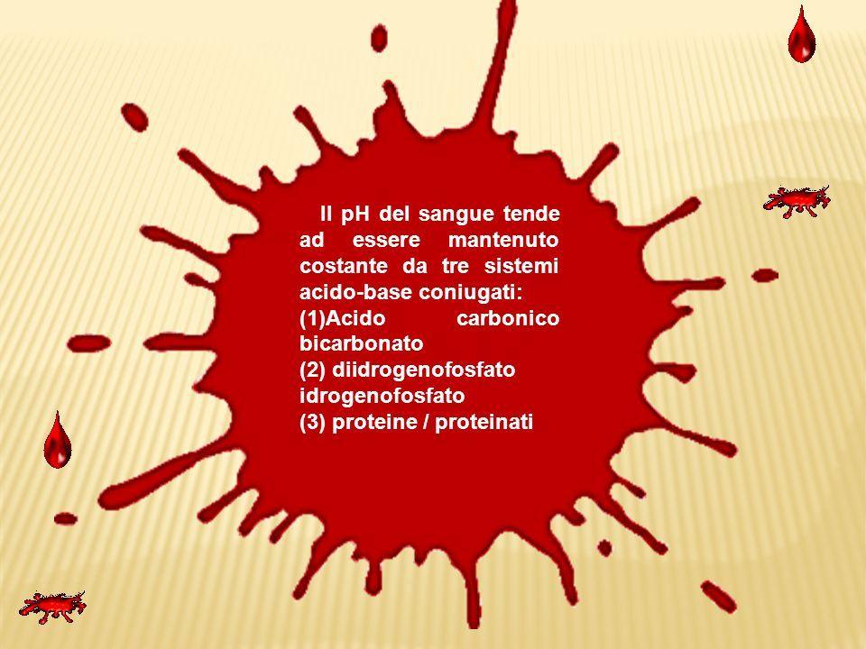 Il pH del sangue tende ad essere mantenuto costante da tre sistemi acido-base coniugati: (1)Acido carbonico bicarbonato (2) diidrogenofosfato idrogeno