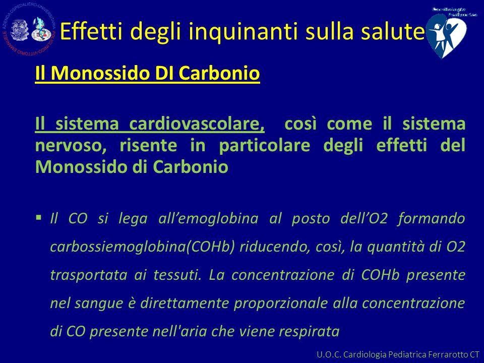 U.O.C. Cardiologia Pediatrica Ferrarotto CT Effetti degli inquinanti sulla salute Il Monossido DI Carbonio Il sistema cardiovascolare, così come il si