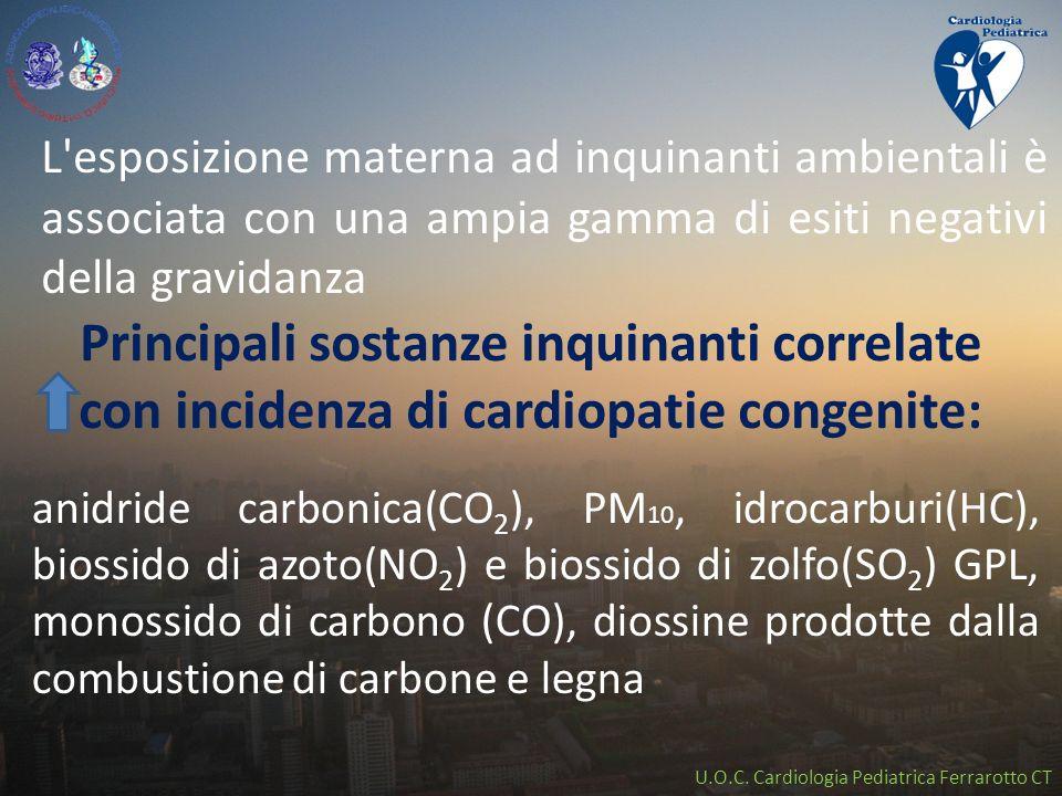 U.O.C. Cardiologia Pediatrica Ferrarotto CT Principali sostanze inquinanti correlate con incidenza di cardiopatie congenite: anidride carbonica(CO 2 )
