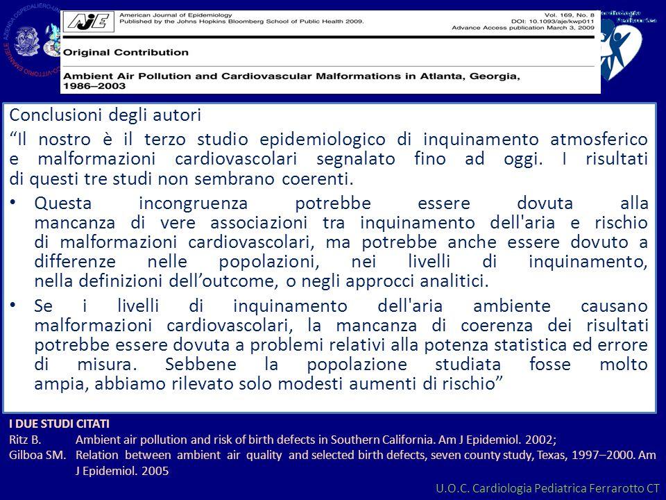 U.O.C. Cardiologia Pediatrica Ferrarotto CT Conclusioni degli autori Il nostro è il terzo studio epidemiologico di inquinamento atmosferico e malforma