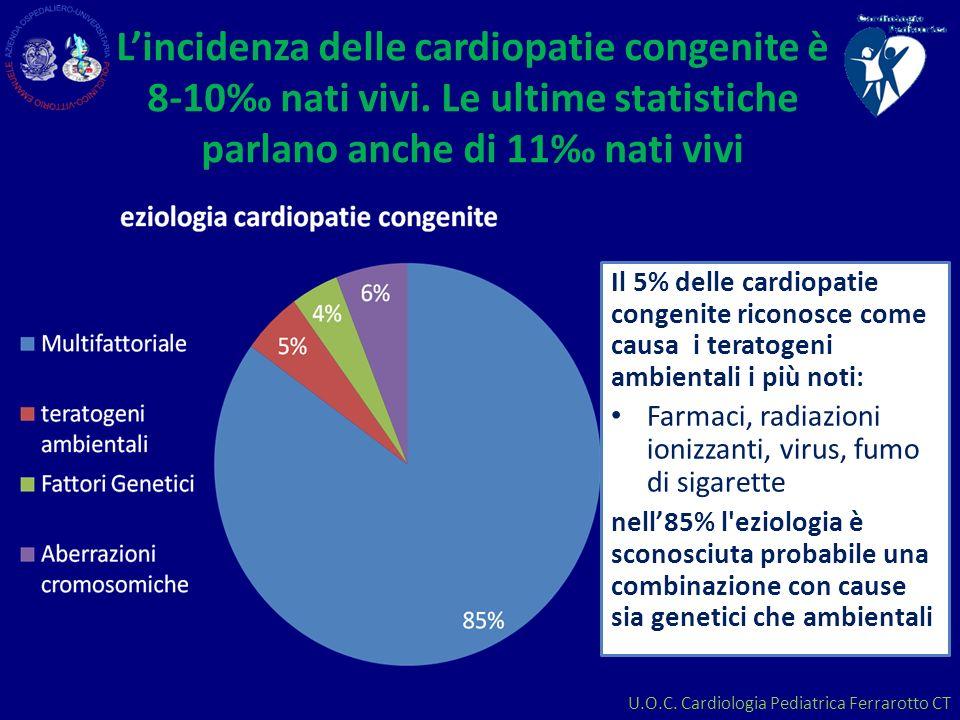 U.O.C. Cardiologia Pediatrica Ferrarotto CT Lincidenza delle cardiopatie congenite è 8-10 nati vivi. Le ultime statistiche parlano anche di 11 nati vi