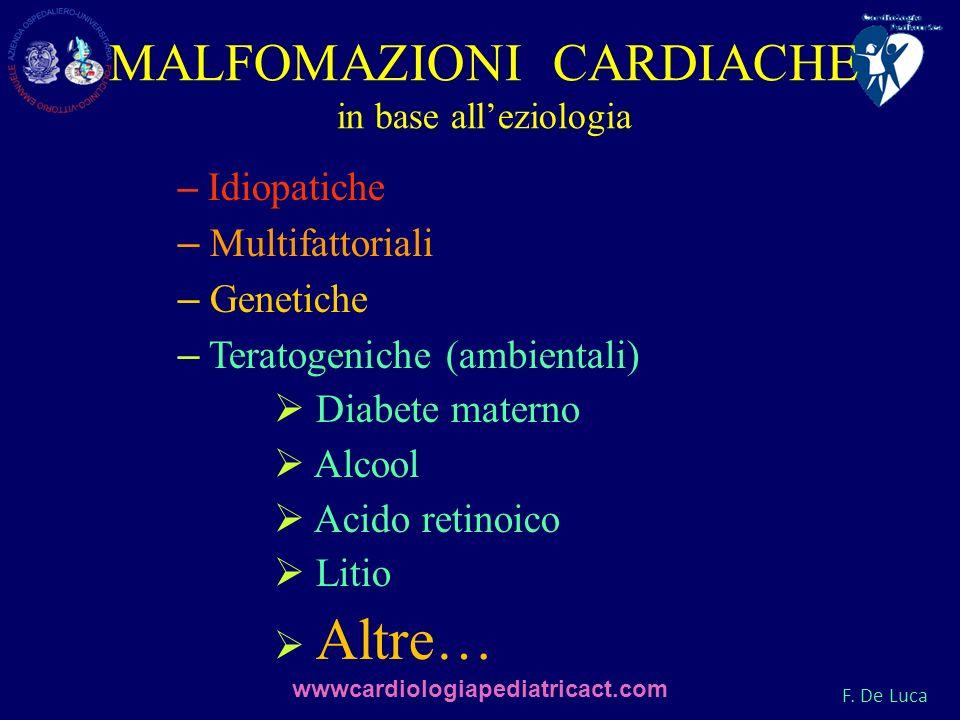 F. De Luca MALFOMAZIONI CARDIACHE in base alleziologia – Idiopatiche – Multifattoriali – Genetiche – Teratogeniche (ambientali) Diabete materno Alcool