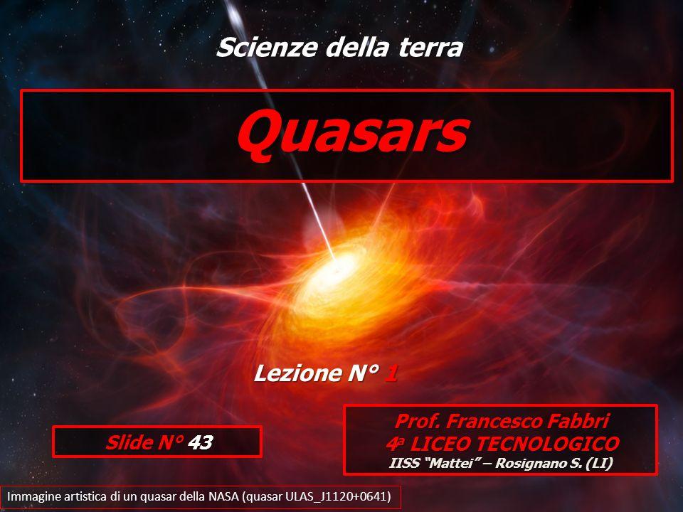Quasars Prof. Francesco Fabbri 4 a LICEO TECNOLOGICO IISS Mattei – Rosignano S. (LI) Immagine artistica di un quasar della NASA (quasar ULAS_J1120+064