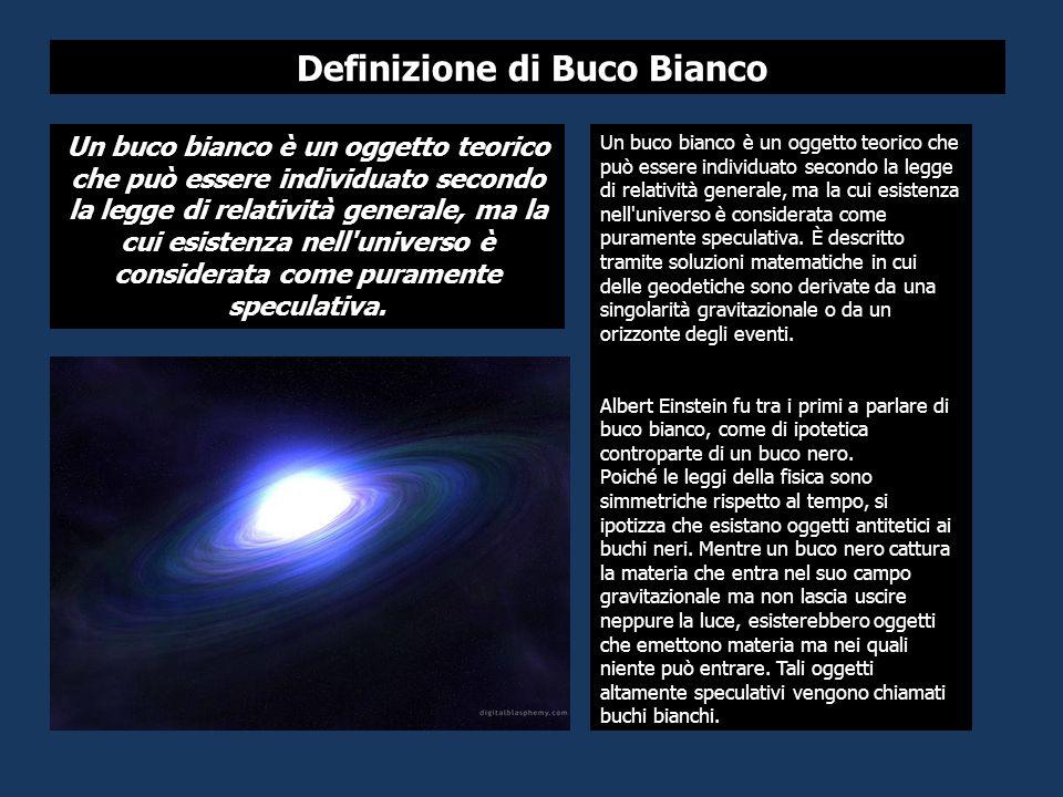 Un buco bianco è un oggetto teorico che può essere individuato secondo la legge di relatività generale, ma la cui esistenza nell universo è considerata come puramente speculativa.