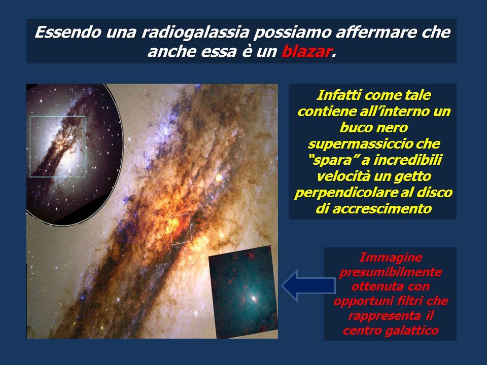 Essendo una radiogalassia possiamo affermare che anche essa è un blazar. Infatti come tale contiene allinterno un buco nero supermassiccio che spara a