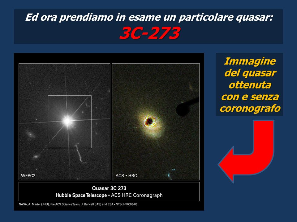 Ed ora prendiamo in esame un particolare quasar: 3C-273 Immagine del quasar ottenuta con e senza coronografo